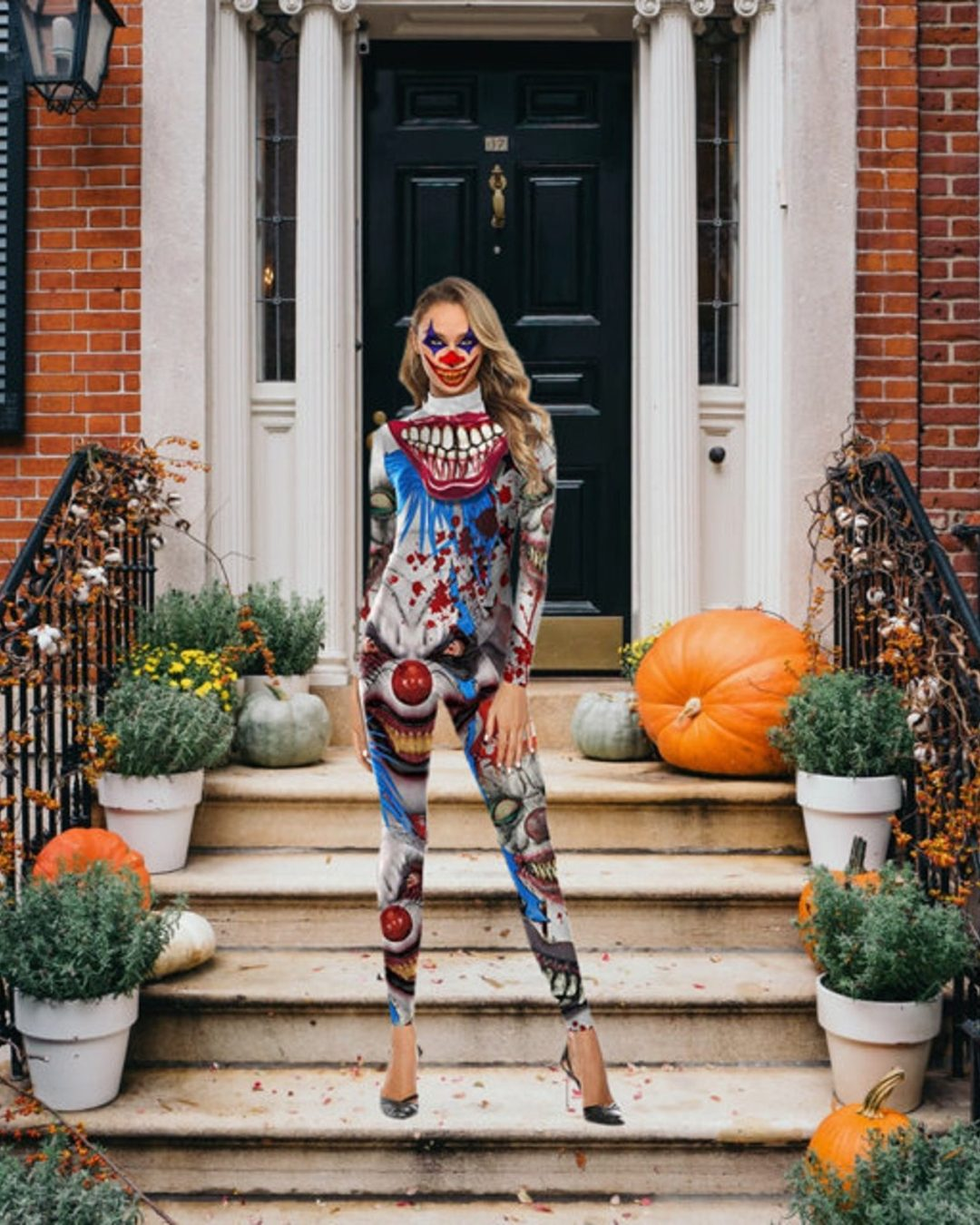 Scary Clown Jumpsuit Halloween costume for women