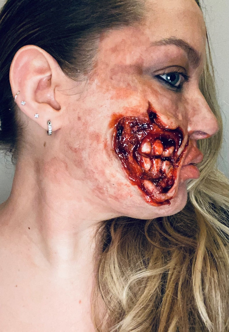 Ripped open mouth scary Halloween makeup look