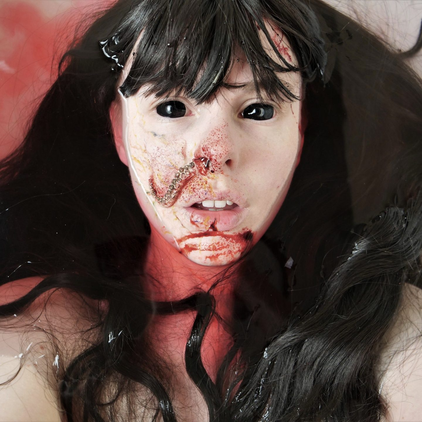Scary Halloween makeup look with tentacles