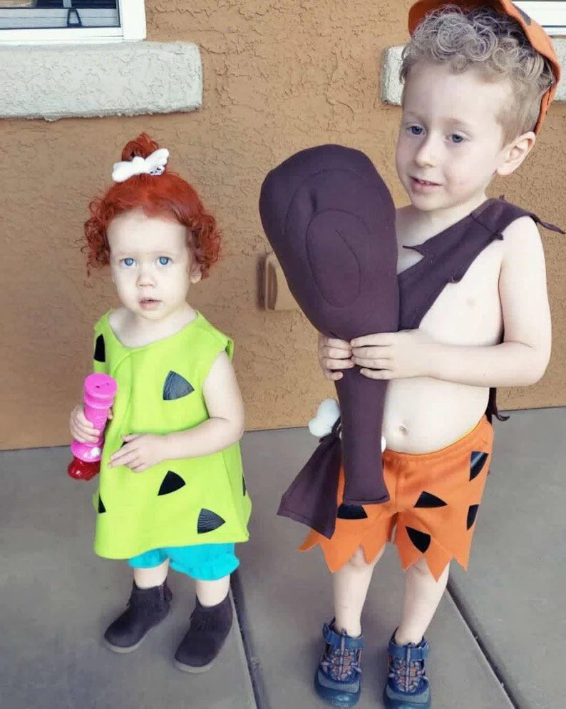 Cute Flintstones sibling Halloween costume