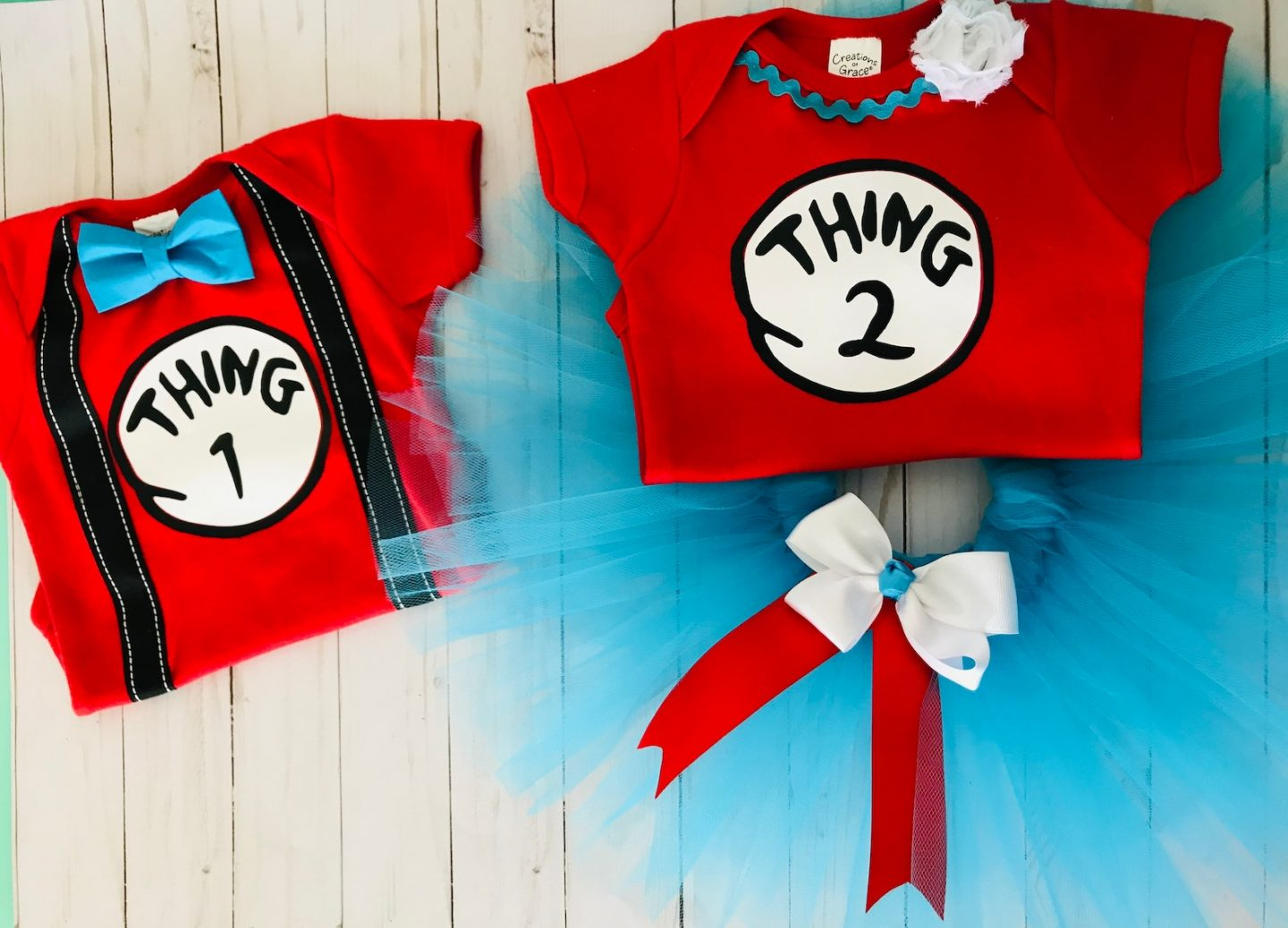 Thing 1 and Thing 2 costumes for siblings