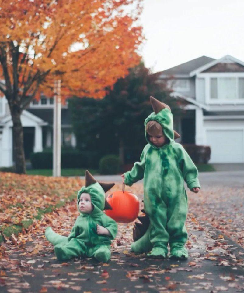 Cute dinosaur Halloween costume for toddler siblings