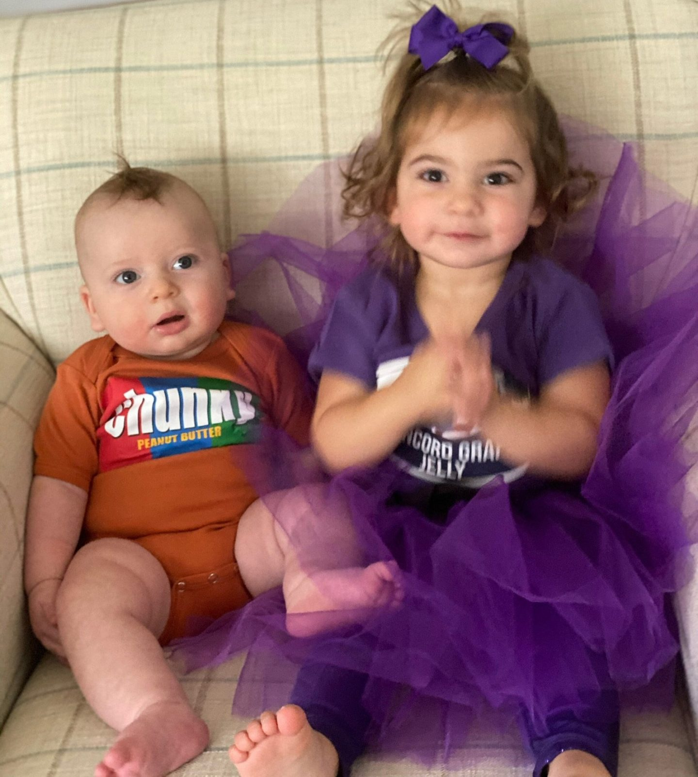 Cute peanut butter and jelly costumes for siblings