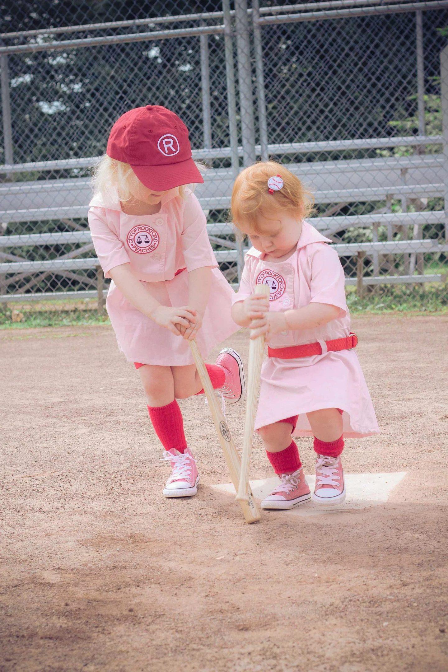 Cute pink baseball league sibling Halloween costumes