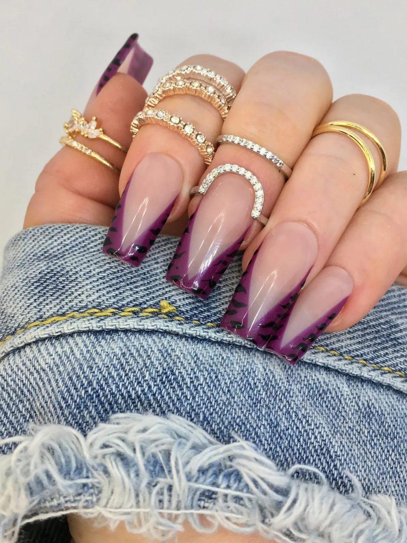 Dark purple French tip square nails