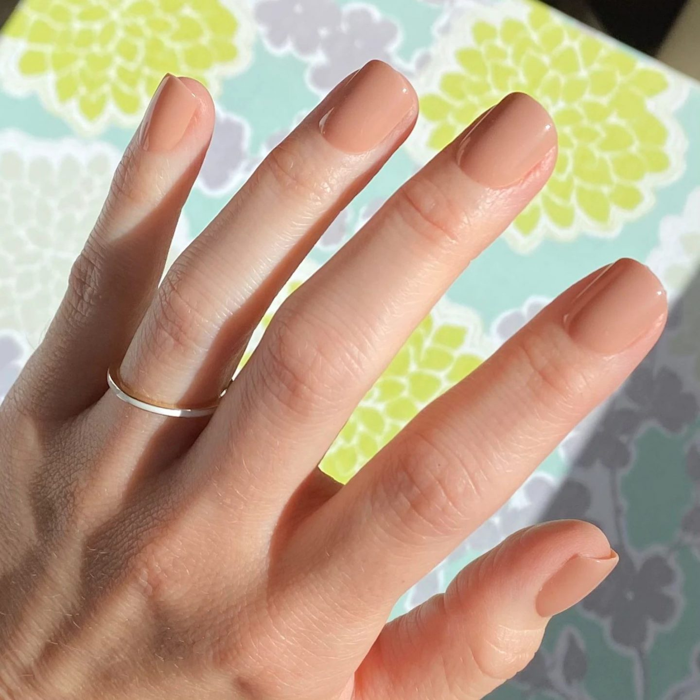 Short nude square nails