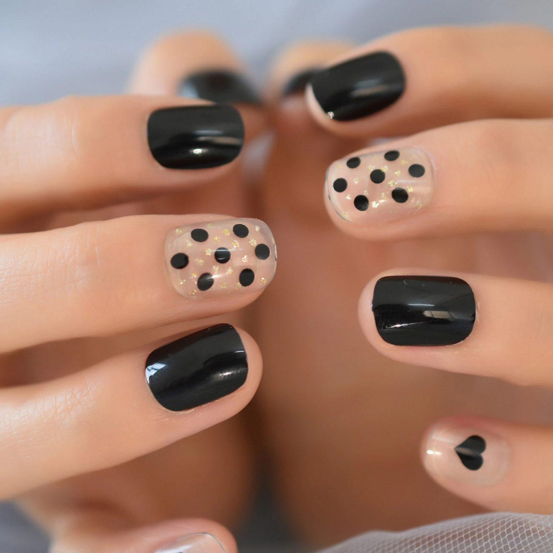 Cute short black square nails with polka dots