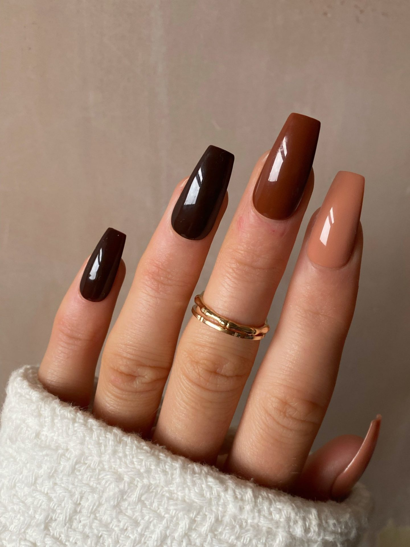 Cute long brown ombre nails in square shape