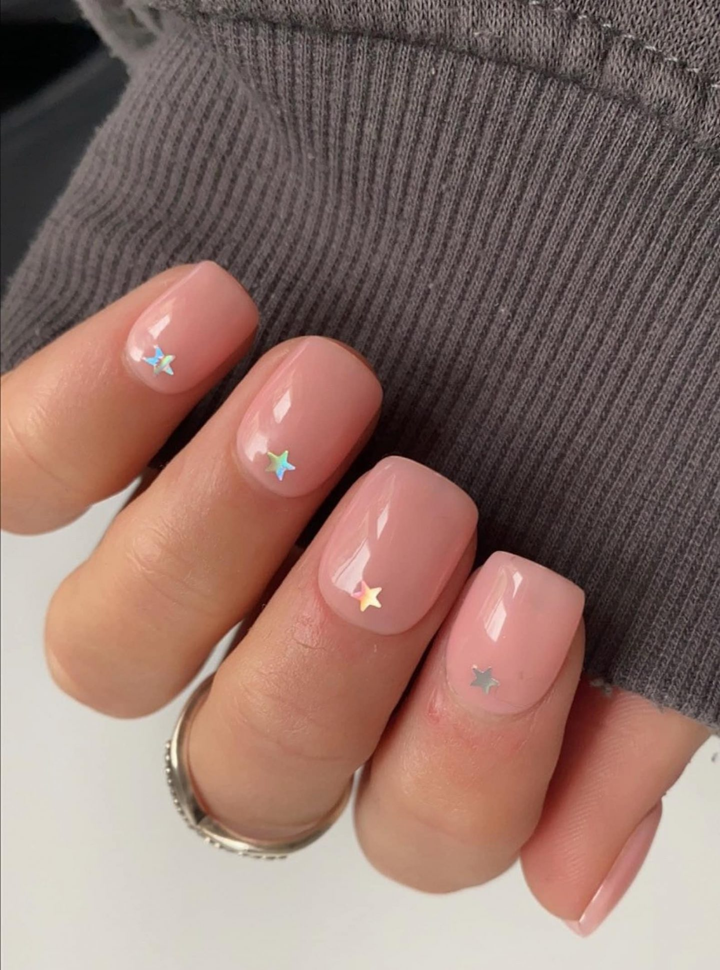 Cute short square nails with stars