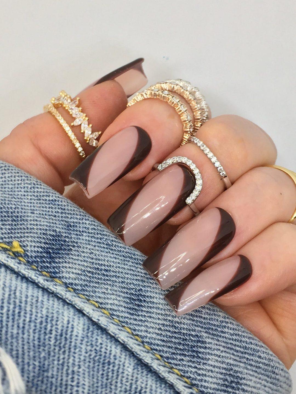 Dark brown swirl square nails