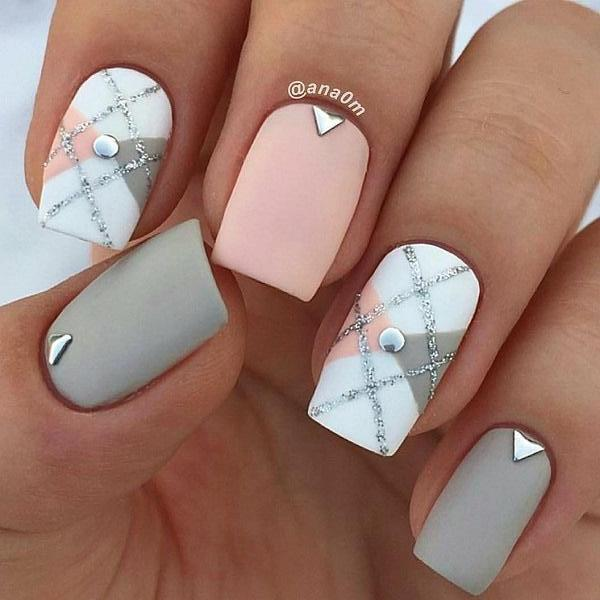 Cute short matte pink and grey square nails