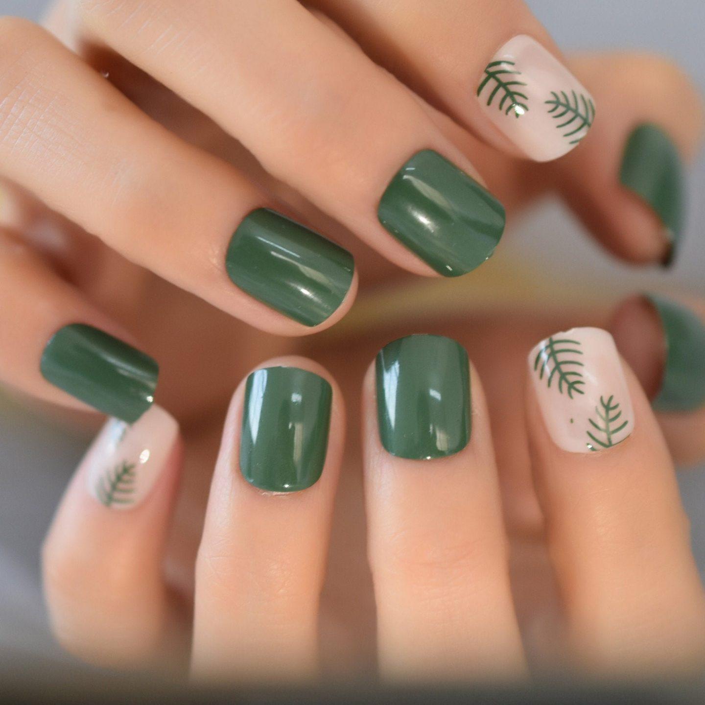 Short dark green tropical square nails