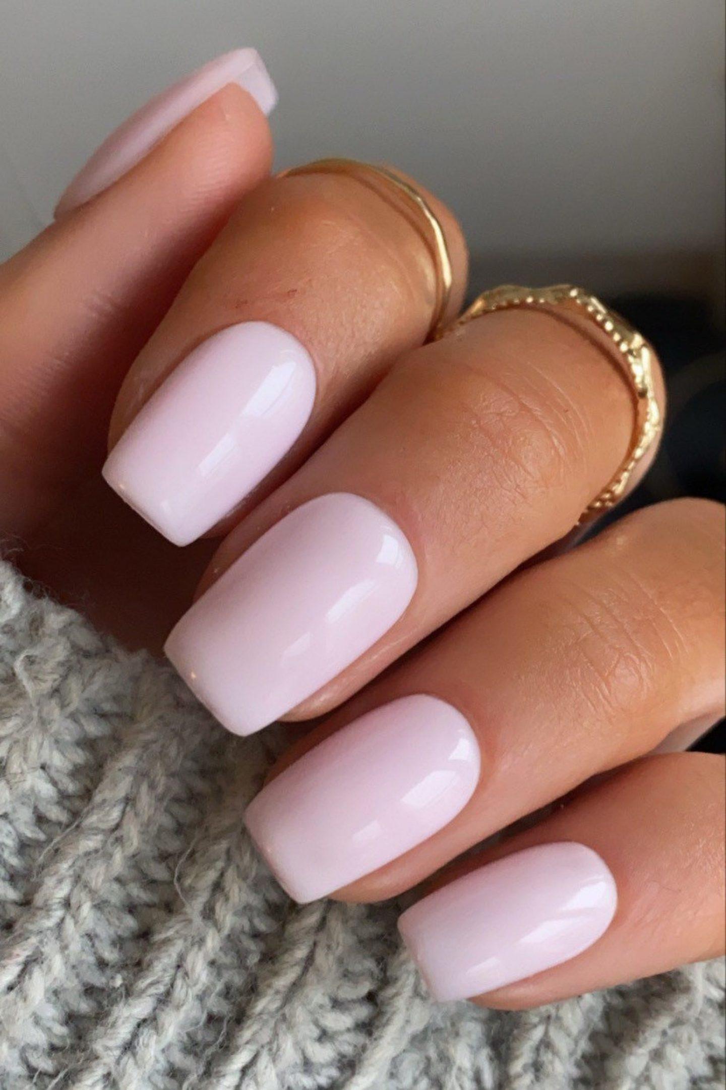 Cute short light pink square nails