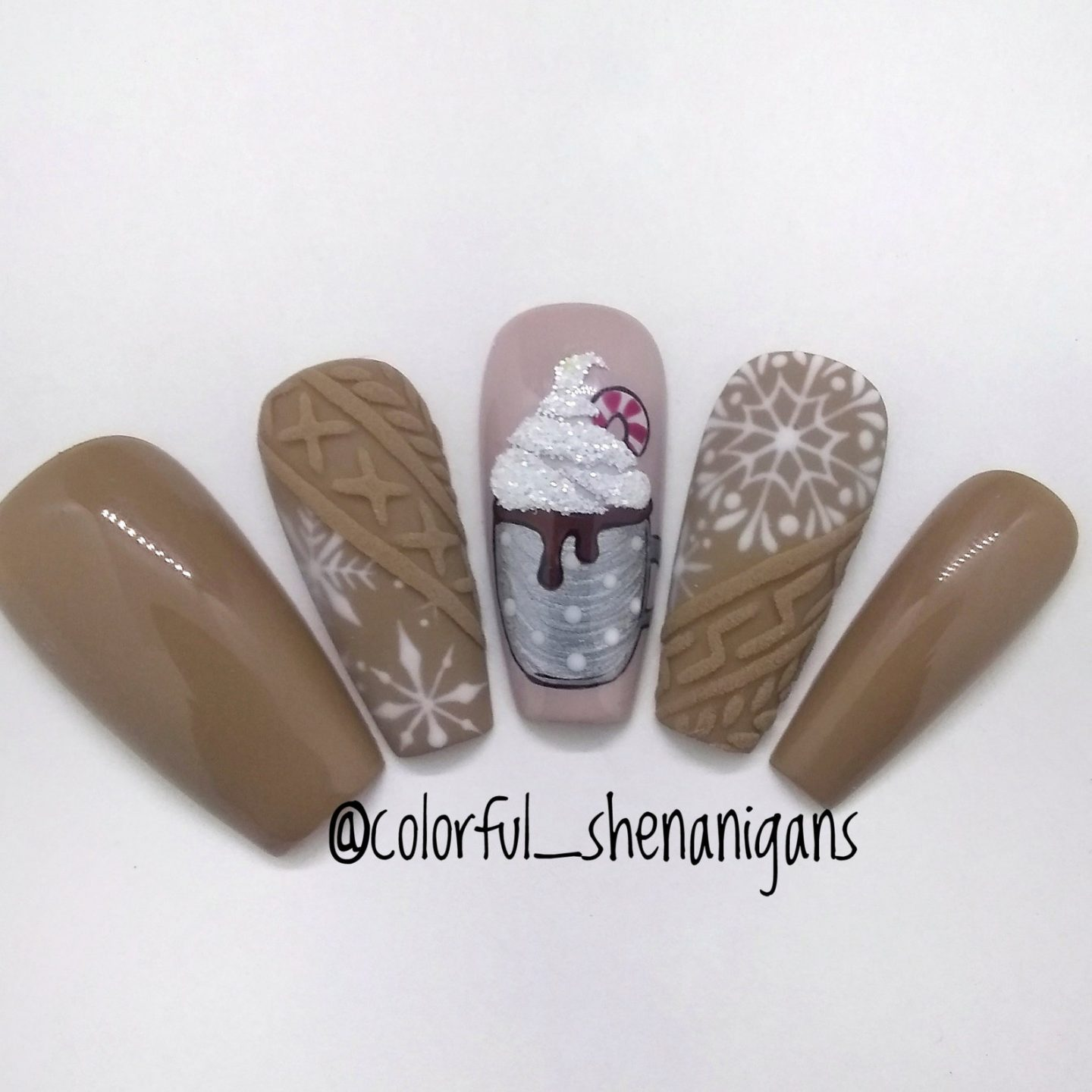 Brown hot chocolate sweater nails