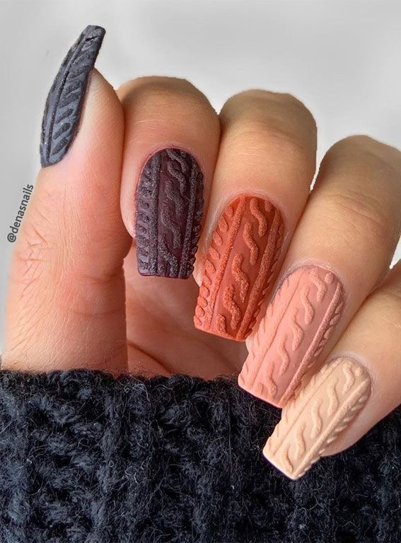 Cute brown and burnt orange ombre sweater nails