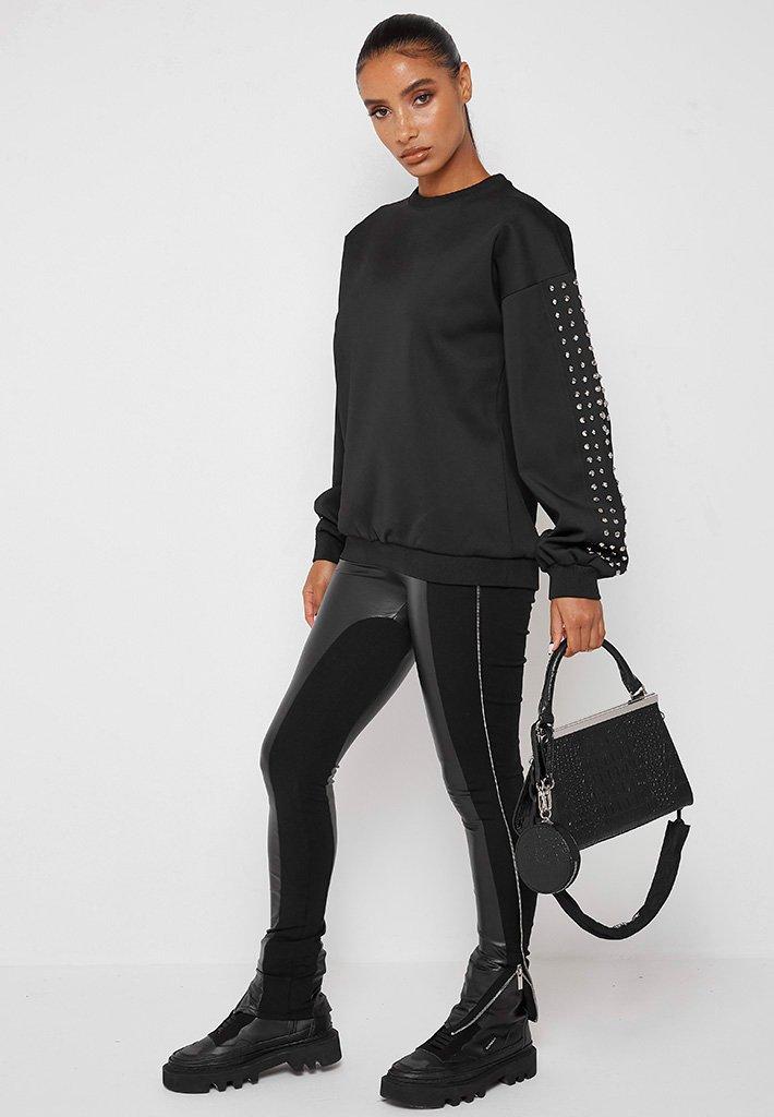 Black studded sweatshirt outfit