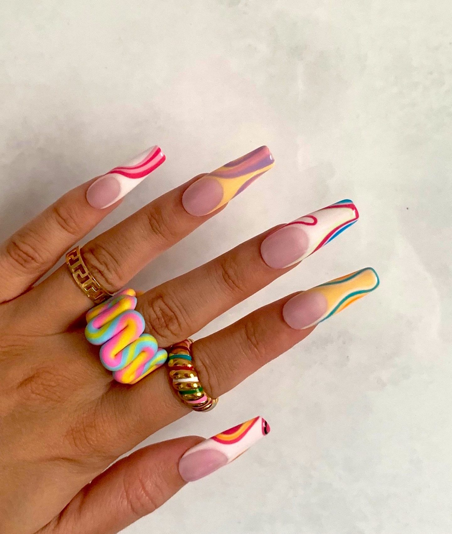Cute colorful retro nails with lines and French tips