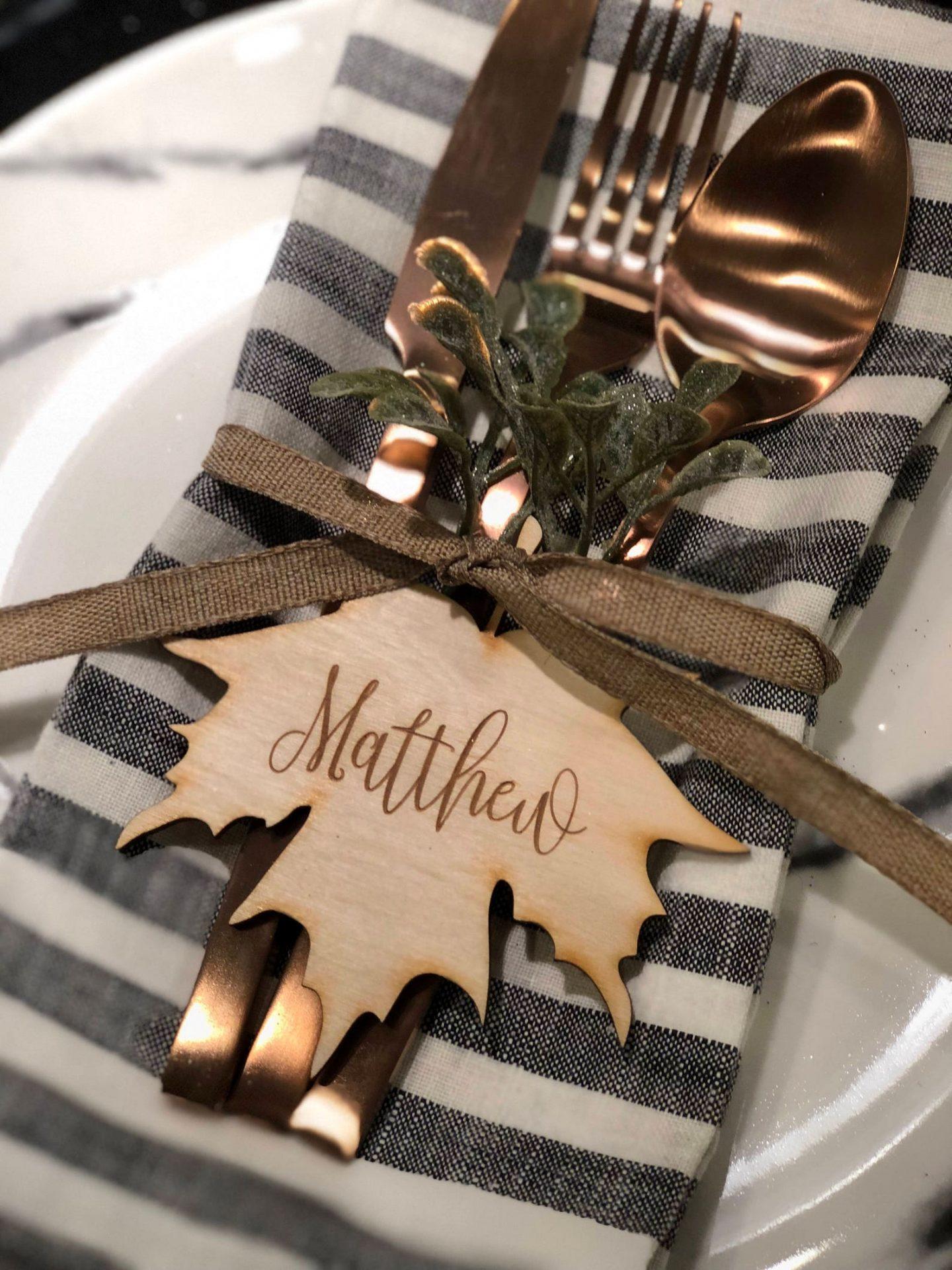 Rustic & Elegant Thanksgiving Name Tags