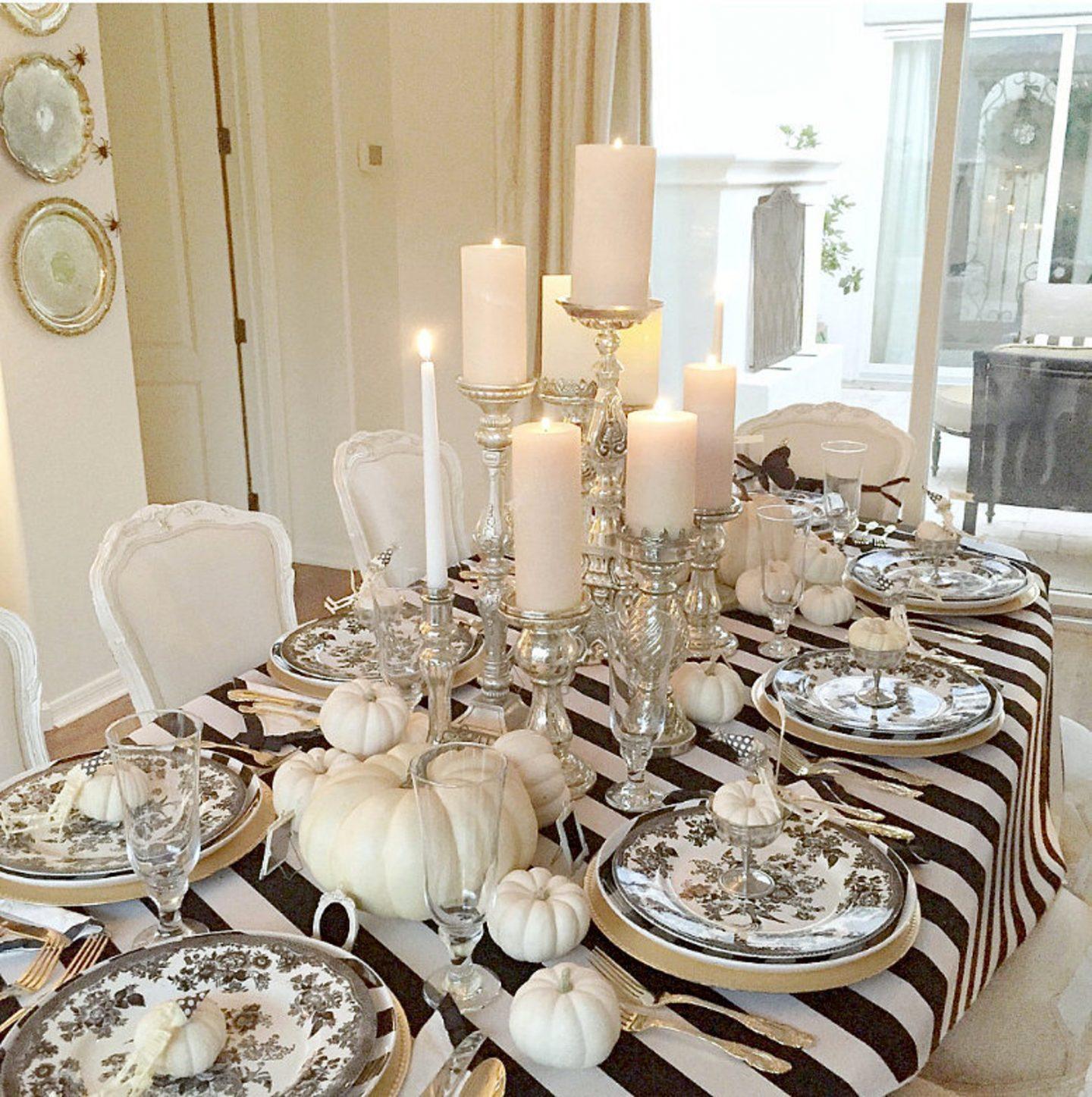 Black & White Thanksgiving Table with white pumpkins