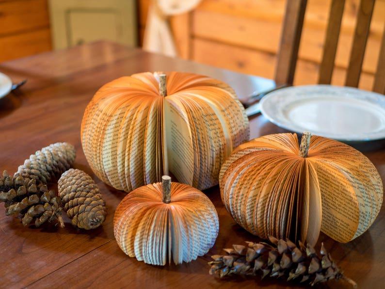 Book Pumpkins Thanksgiving table decor