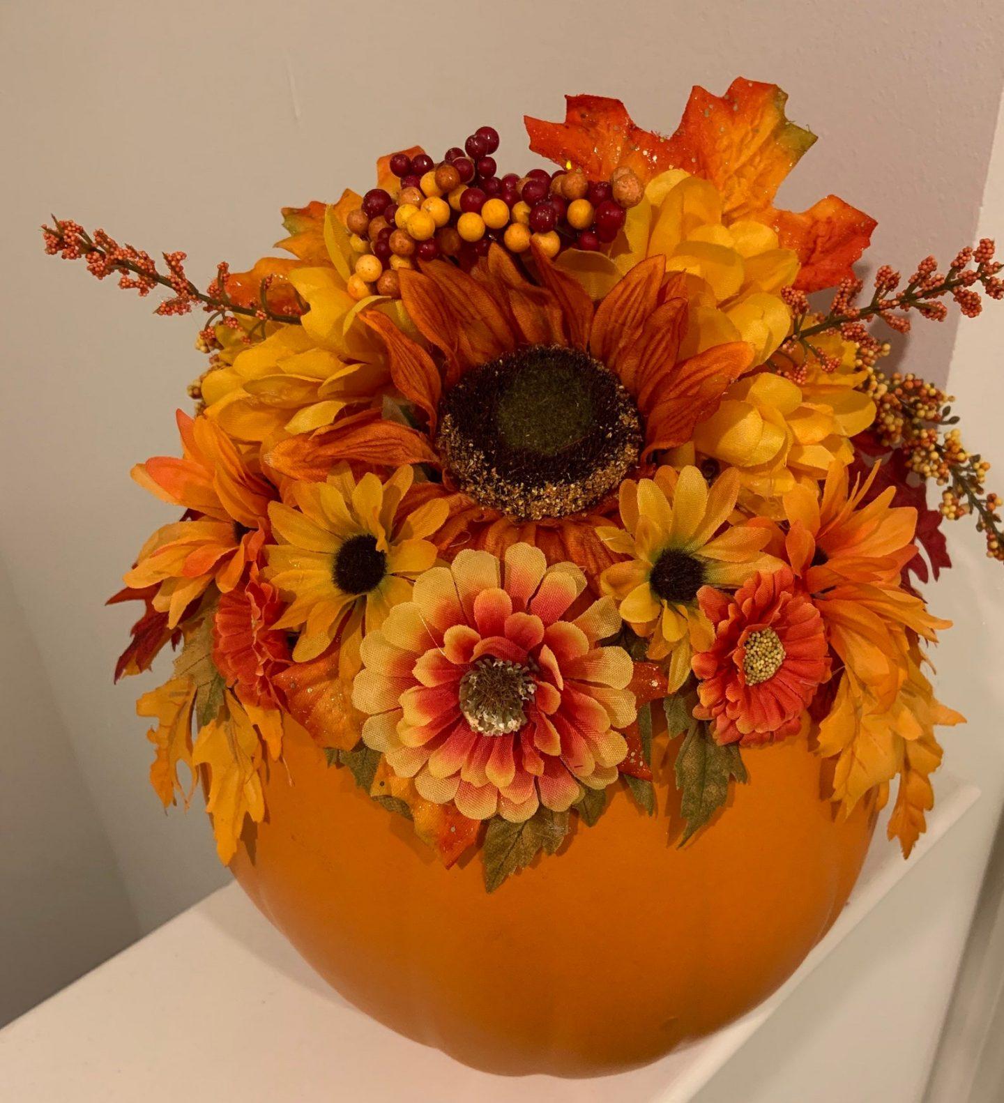 Fall Flowers & Pumpkin Centerpiece for Thanksgiving