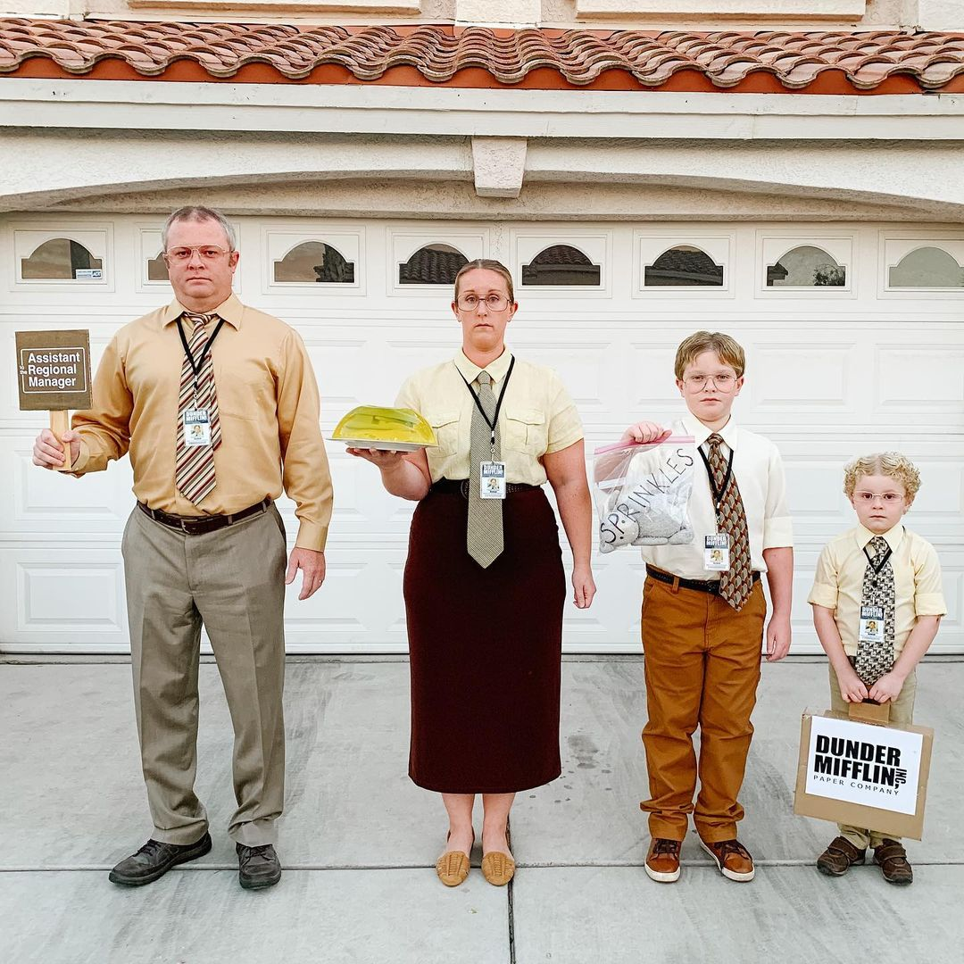 Cute The Office group Halloween costume for family of 4