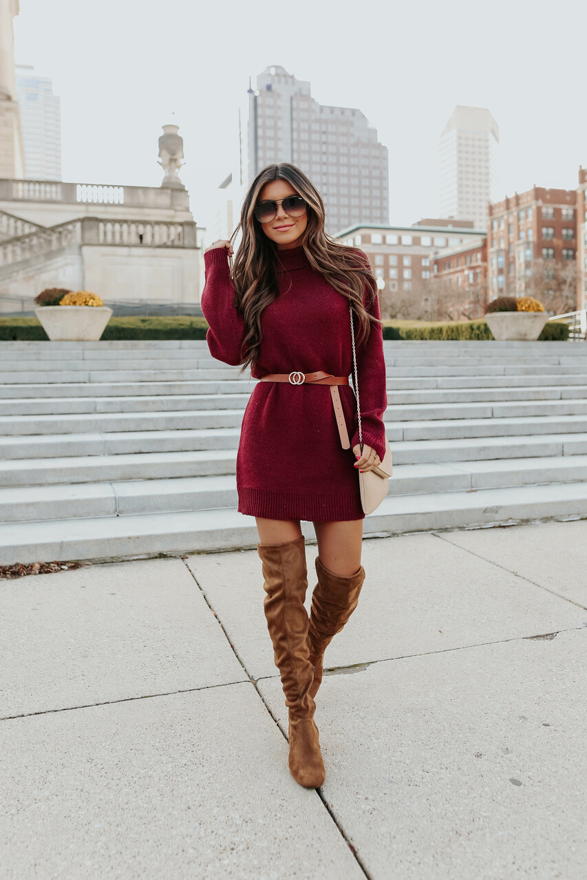 What to wear with thigh high boots: sweater dresses