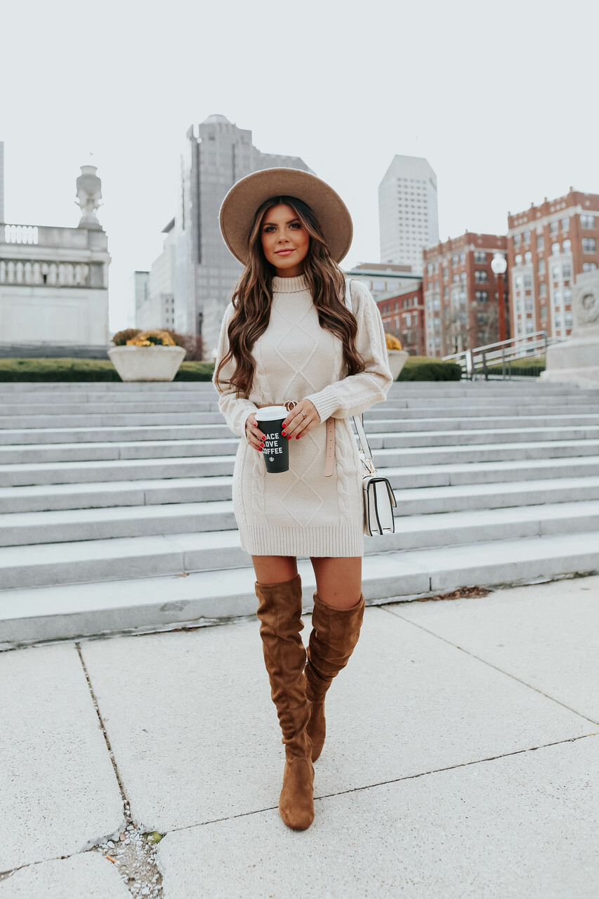 What to wear with thigh high boots: cute sweater dresses
