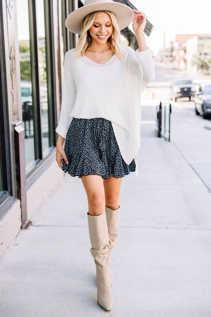 What to wear with thigh high boots: floral ruffle skirts