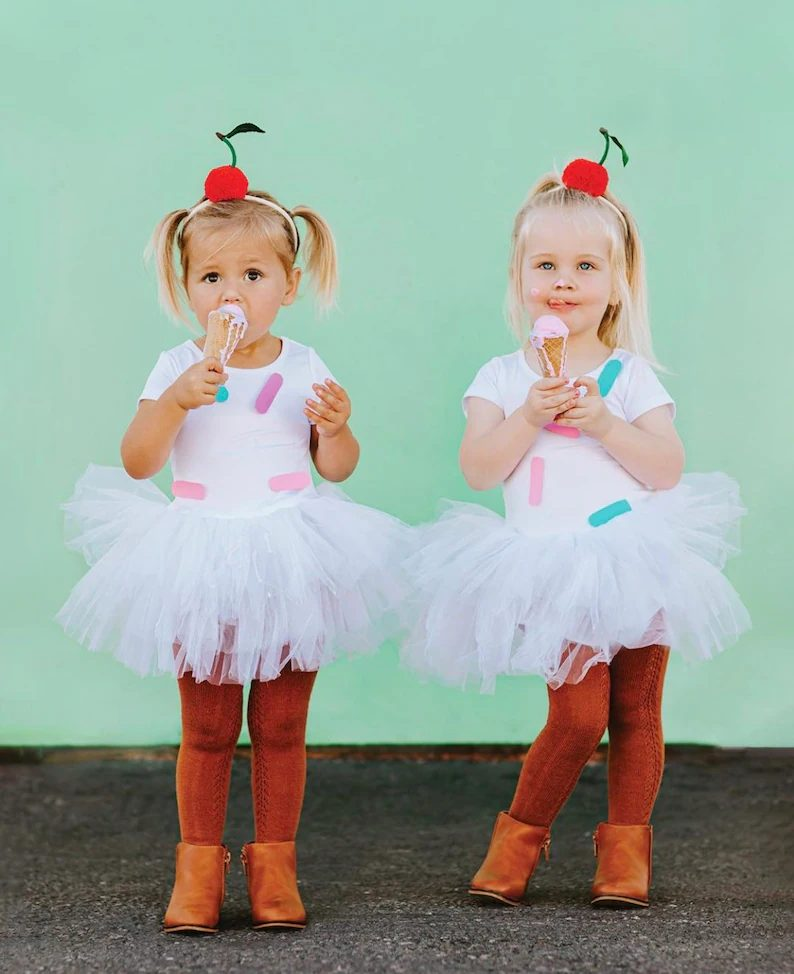 Cute cherry sundae ice cream Halloween costume for toddler girls