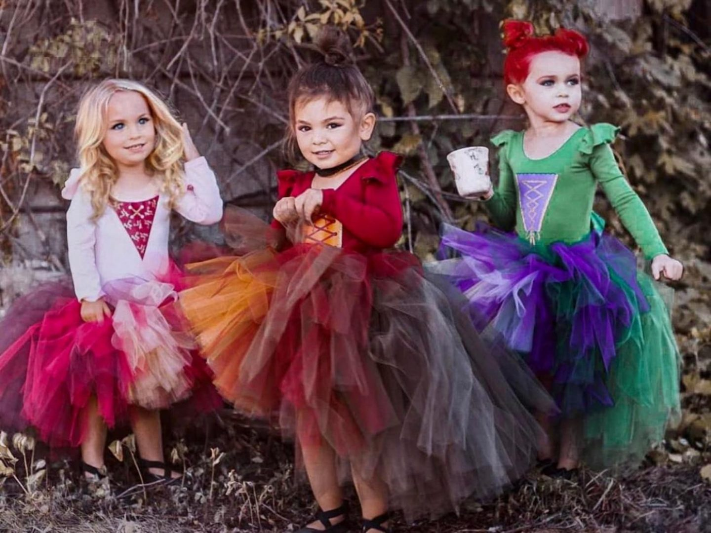 Salem witch Halloween costumes for kids and siblings
