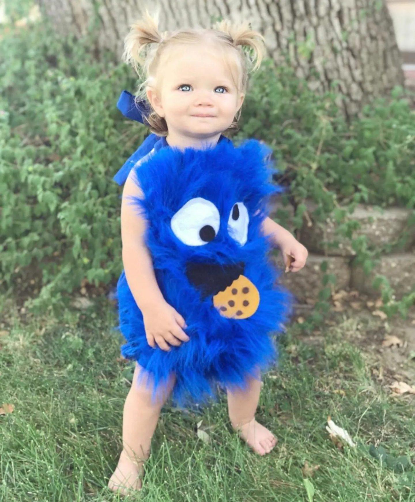 Blue cookie monster Halloween costume for babies