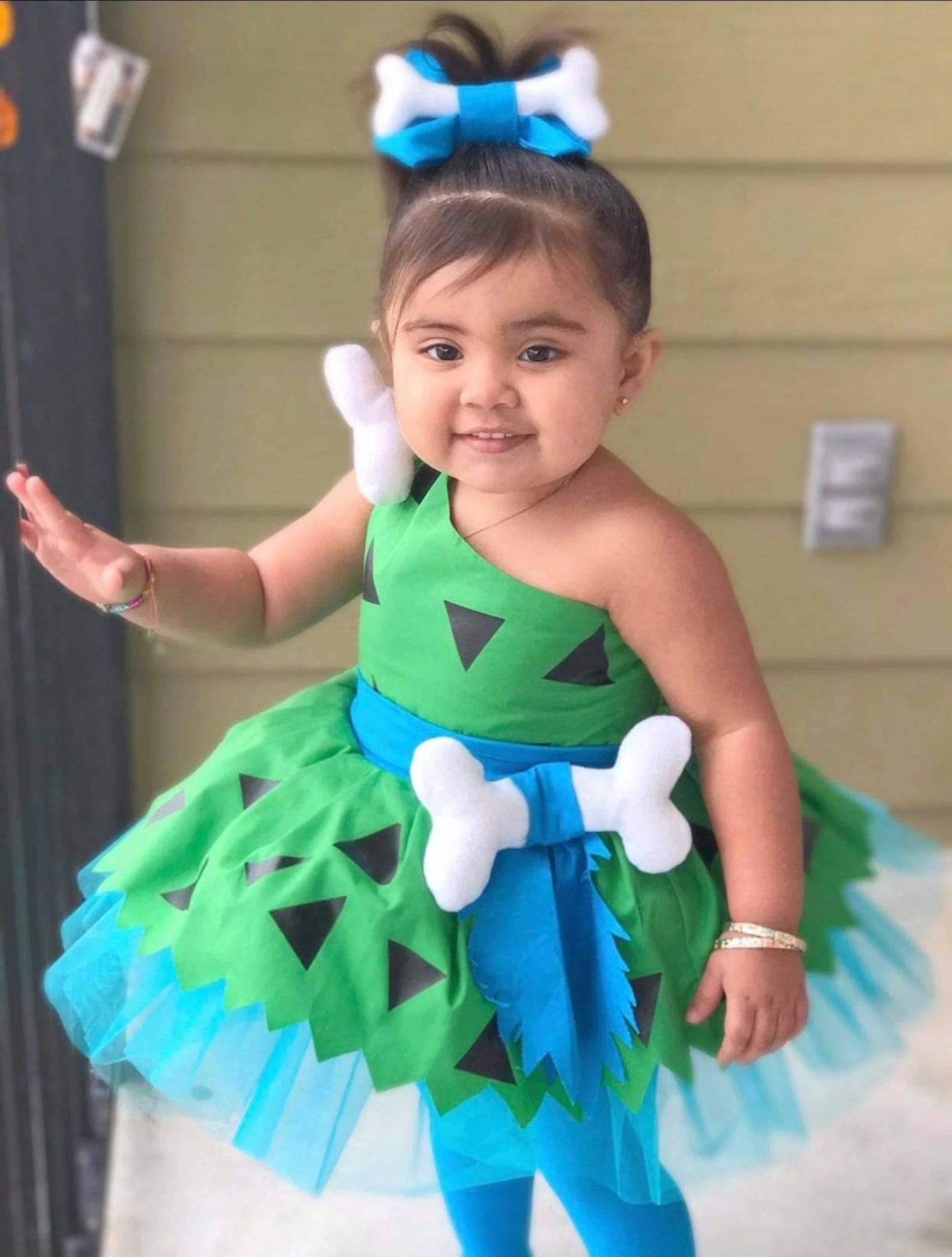 Green Pebbles Halloween costume for toddlers