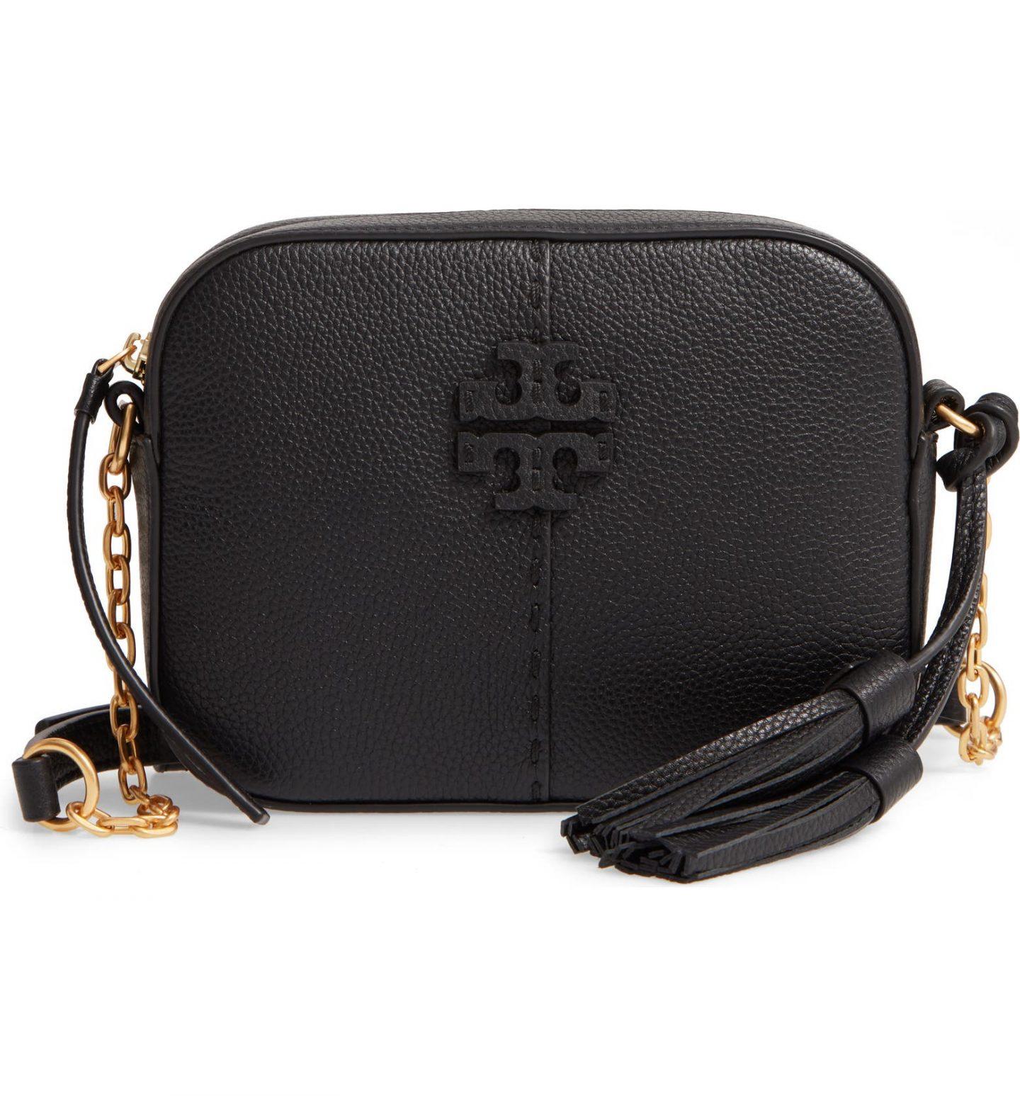 Black minimalist Tory Burch purse