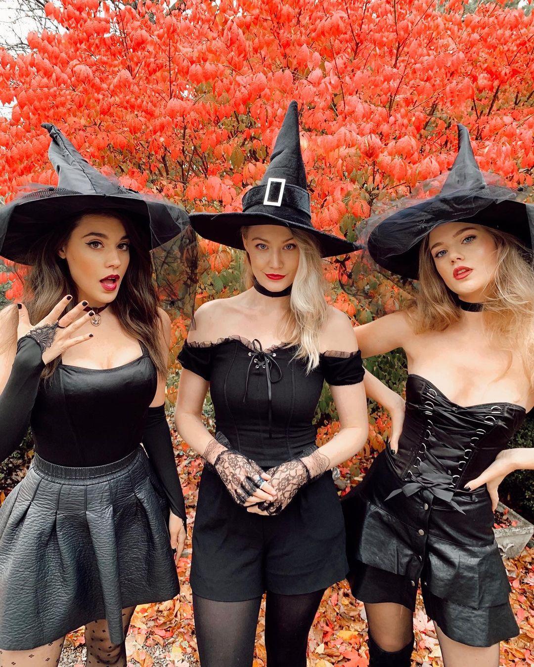 Trio witch Halloween costumes