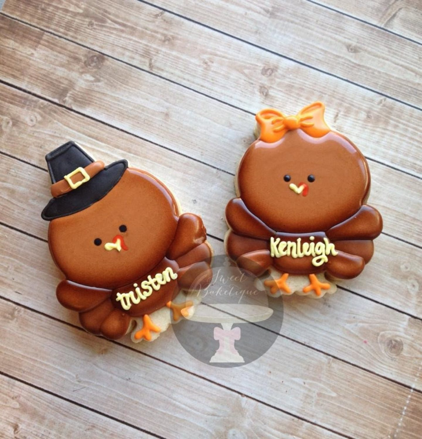 Cute Chubby Pilgrim Turkey Thanksgiving Cookies