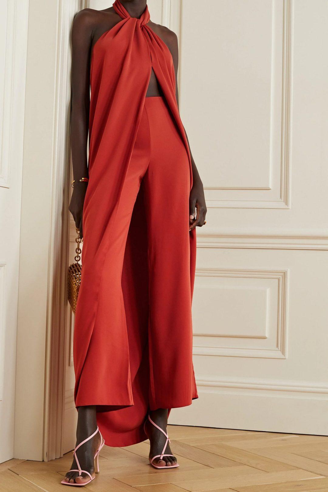 Blood orange halter designer jumpsuit