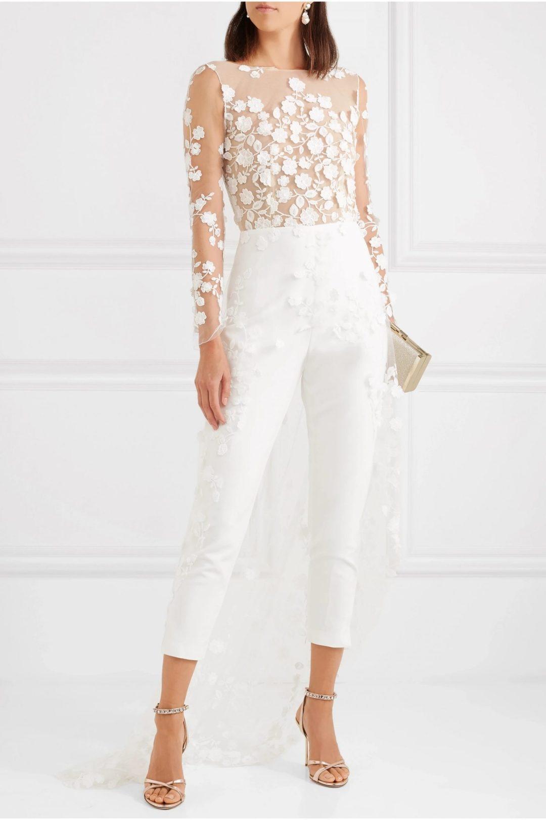 White lace tulle jumpsuit