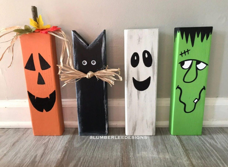 Halloween Wooden Blocks with Frankenstein, Pumpkin, Ghost and Black Cat