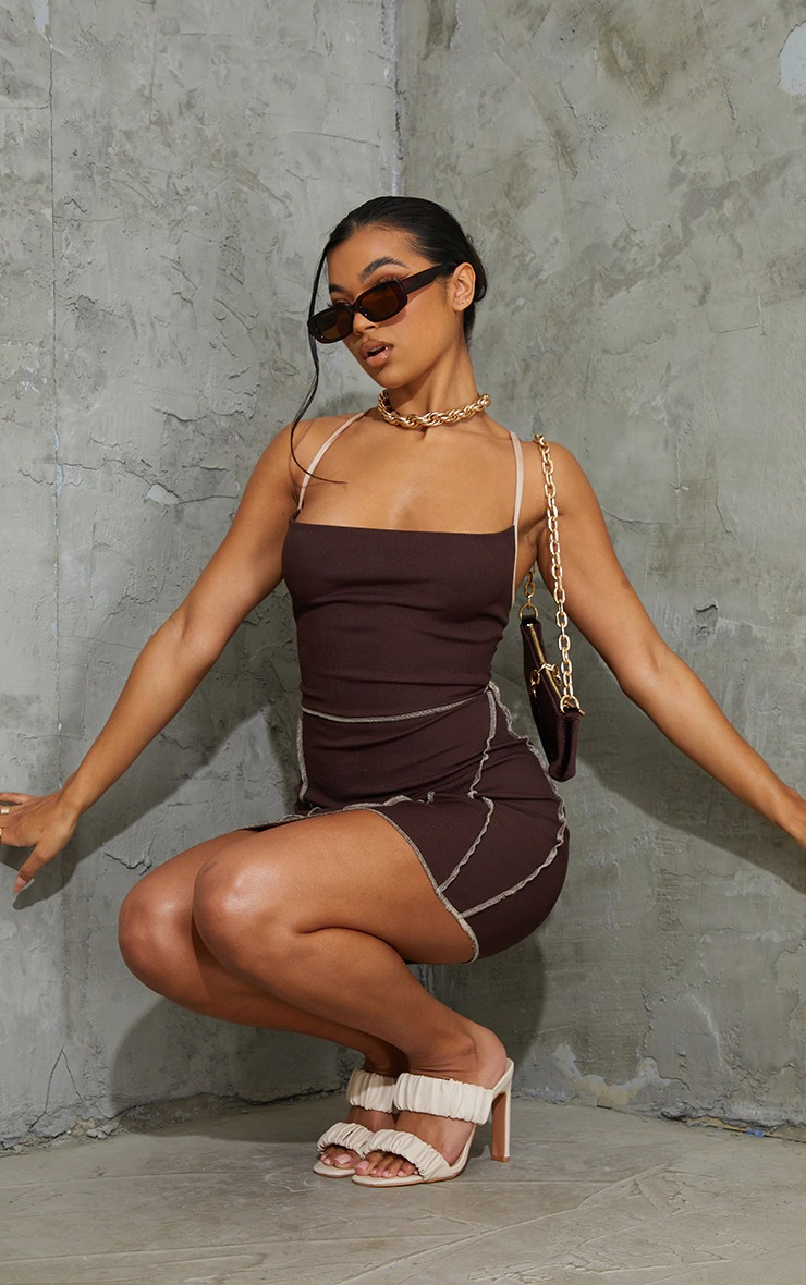 Brown bodycon dress for baddie outfits