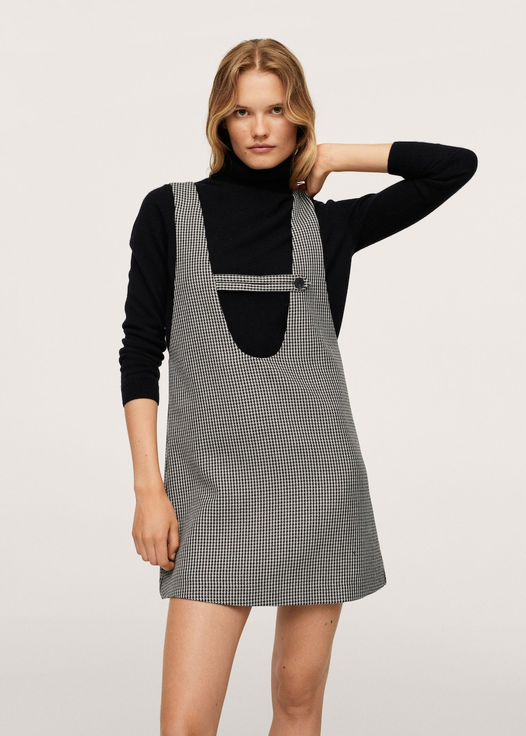 Black long sleeve with gingham dress