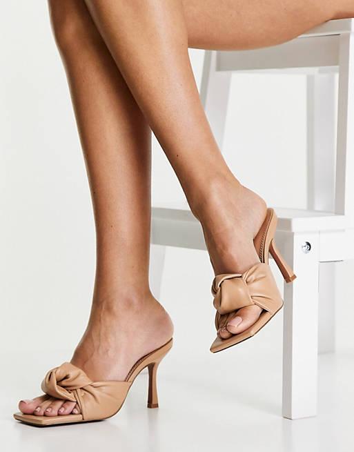 Nude slide-in sandals