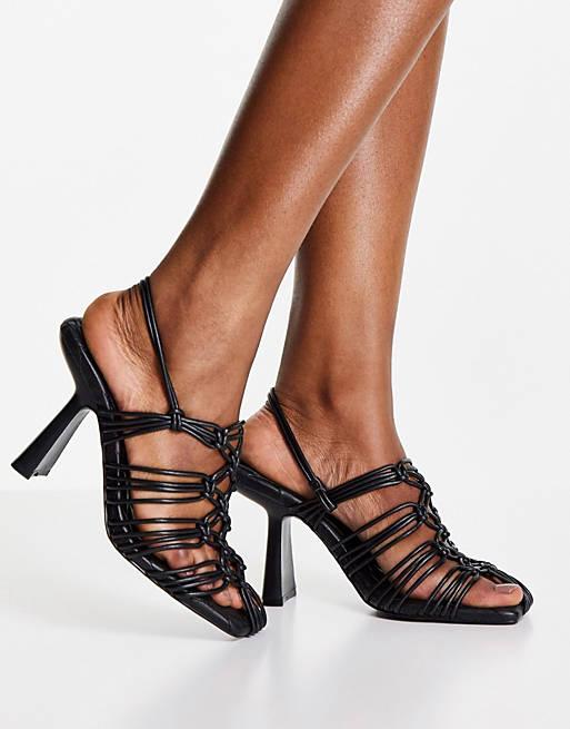 Black slide heeled sandals