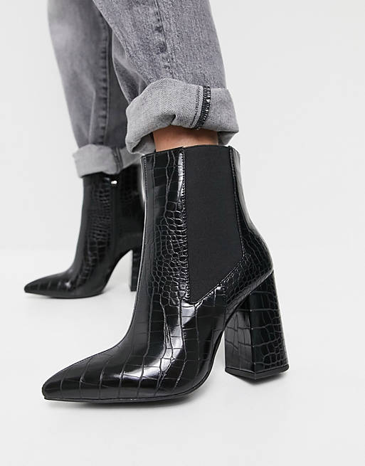 Best Shoe Colors To Wear With A Red Dress: Black croc-print ankle boots