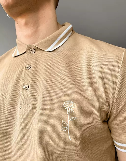 Brown polo with rose