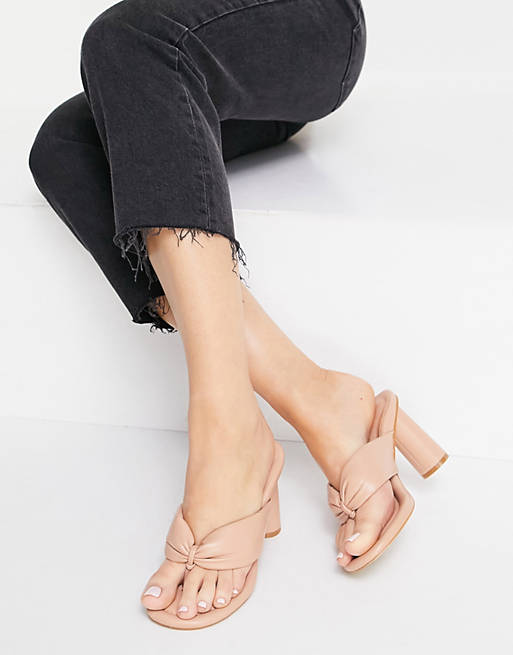 Chunky nude slide-in sandals