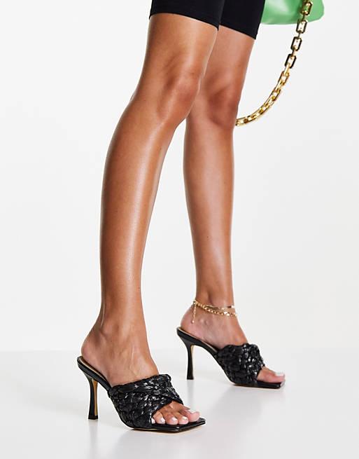 Black slide-in sandals