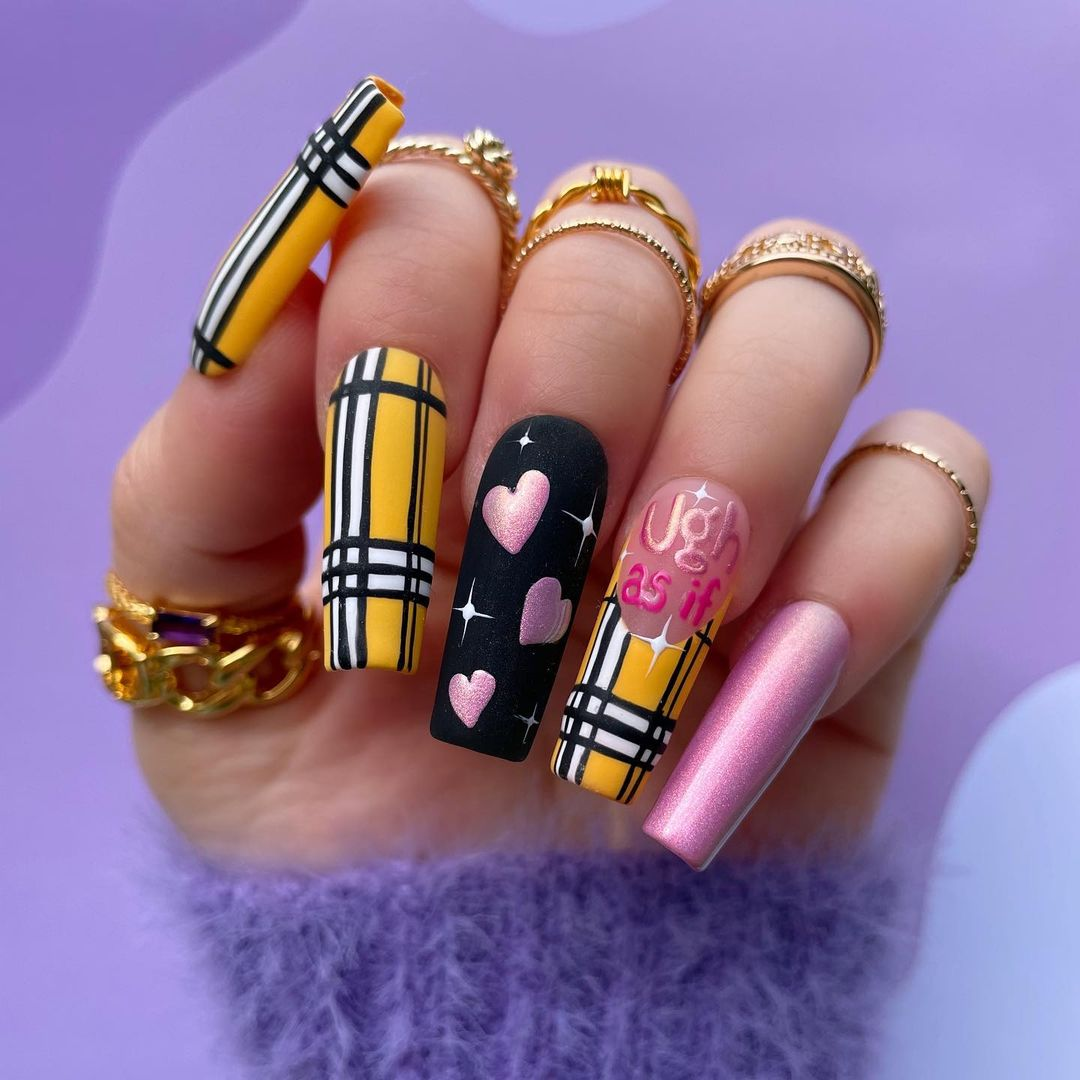 Yellow Clueless inspired plaid nails