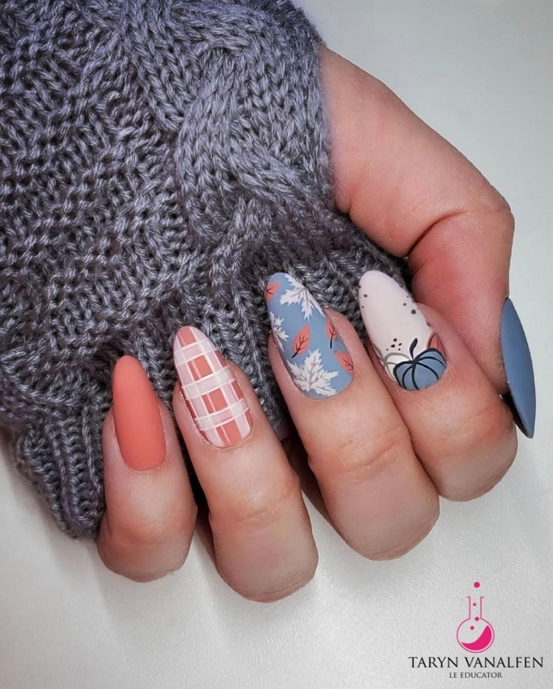 Terracotta and blue matte fall nails with plaid design