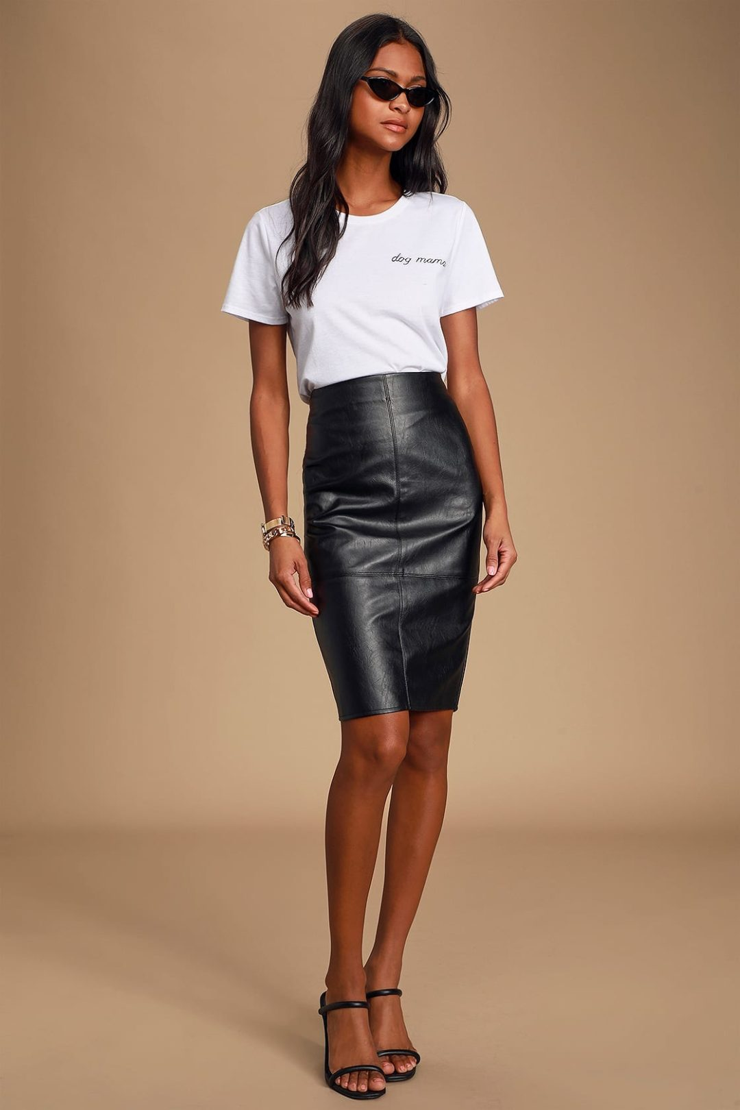White tee and leather pencil skirt